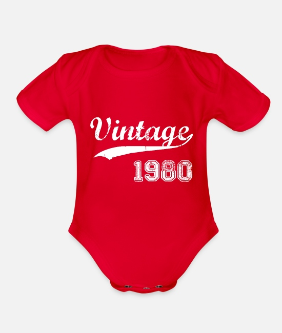 Birth Year Baby One Pieces - 1980 - Organic Short-Sleeved Baby Bodysuit red