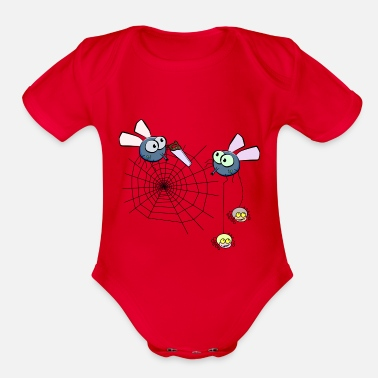 Flies flies - Organic Short-Sleeved Baby Bodysuit