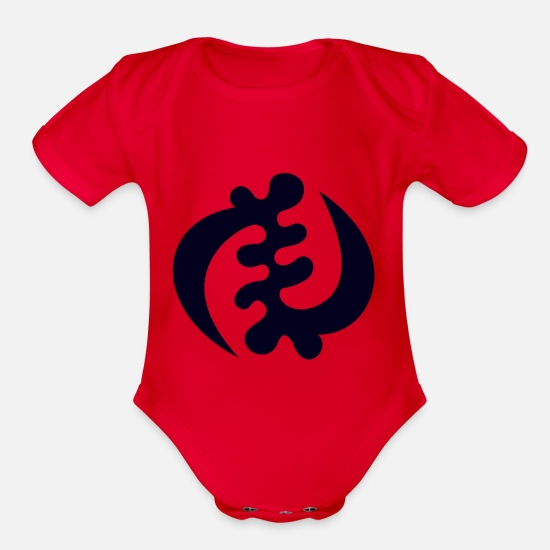 Tribal Baby Clothing - Gye Nyame - Symbol of supremacy - Organic Short-Sleeved Baby Bodysuit red
