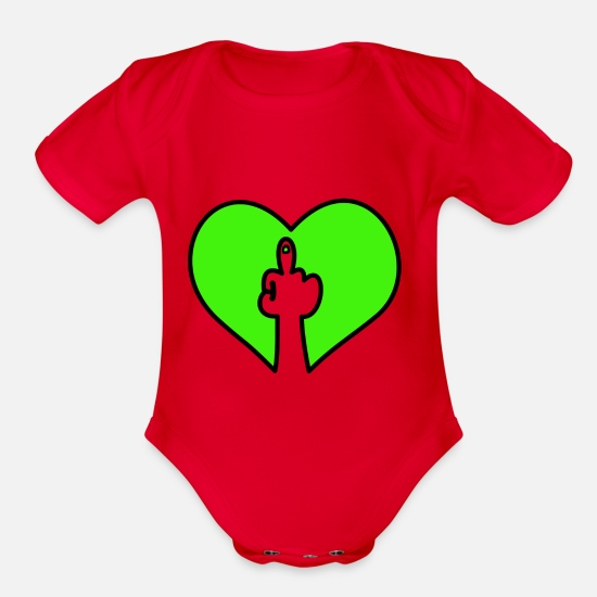 Special Baby Clothing - Fuck you heart - Organic Short-Sleeved Baby Bodysuit red