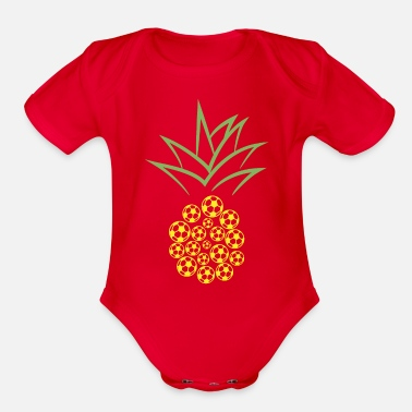 Pineapple And Soccer Pineapple Football - Organic Short-Sleeved Baby Bodysuit