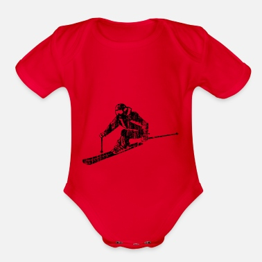 Sporty Skiers on the ski slopes in a sporty and fast way - Organic Short-Sleeved Baby Bodysuit