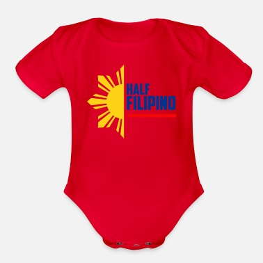 Half Filipino - Filipino Shirts - Organic Short-Sleeved Baby Bodysuit