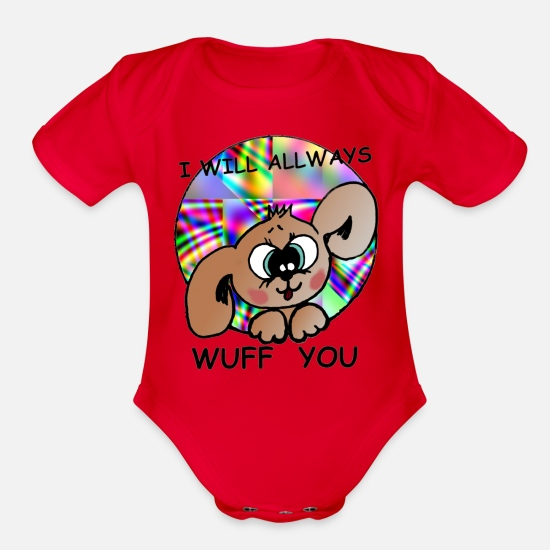 Love Baby Clothing - i will allways wuff you - Organic Short-Sleeved Baby Bodysuit red