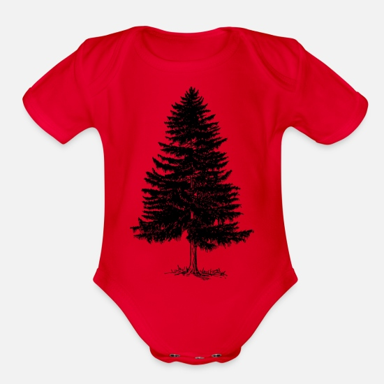 Tree Baby Clothing - Tree - Organic Short-Sleeved Baby Bodysuit red
