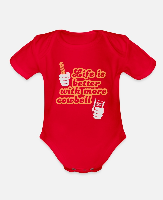 Couples Baby One Pieces - Cowbell - Organic Short-Sleeved Baby Bodysuit red