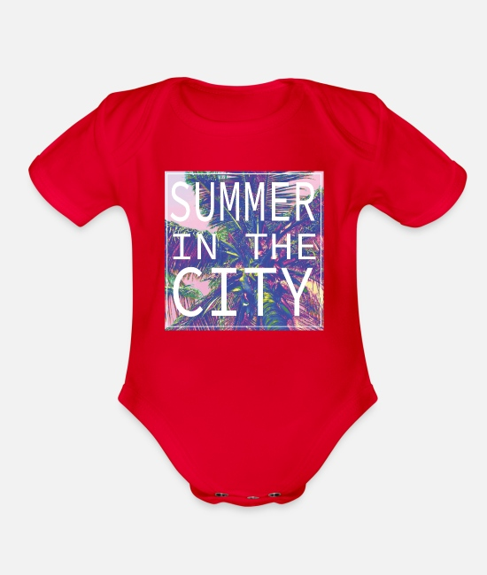 Beach Baby One Pieces - Summer in the City - Organic Short-Sleeved Baby Bodysuit red