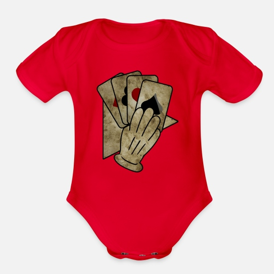 Poker Baby Clothing - Poker Hand T-Shirt & Gift Idea - Organic Short-Sleeved Baby Bodysuit red