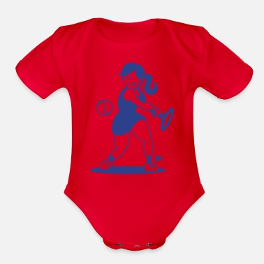 Backhand Tennis girl hitting a backhand - Organic Short-Sleeved Baby Bodysuit