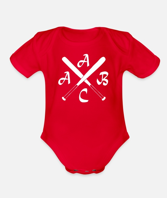 Hipster Baby One Pieces - ACAB Kreuz Hipster Baseball Kult Old School Hoolig - Organic Short-Sleeved Baby Bodysuit red