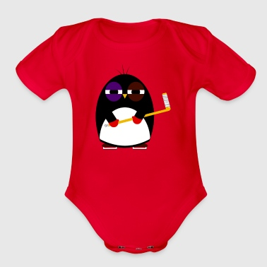 Hockey penguin - Organic Short Sleeve Baby Bodysuit
