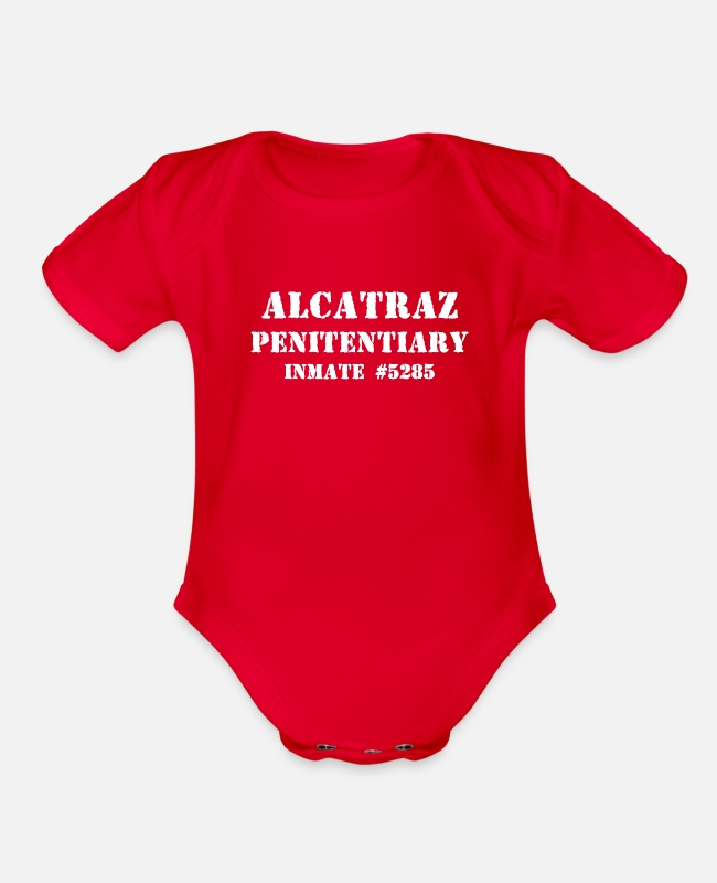 Prison Baby One Pieces - Alcatraz Penitentiary - Inmate 5285 - Jail Prison - Organic Short-Sleeved Baby Bodysuit red