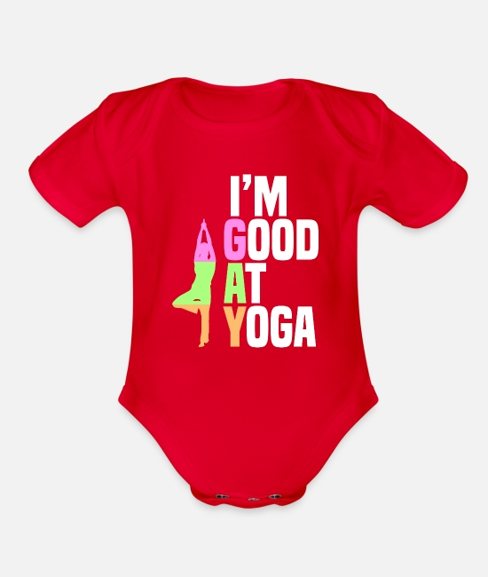 Queer Flag Baby One Pieces - I'm Good At Yoga Tree Pose Vriksasana Gift - Organic Short-Sleeved Baby Bodysuit red