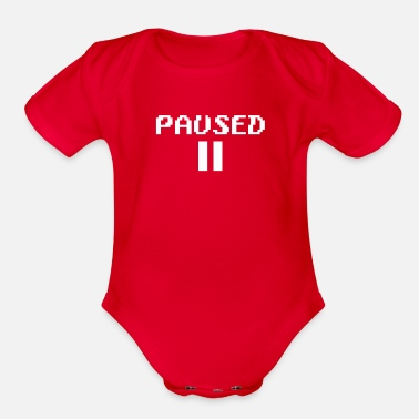 Pause paused - Organic Short Sleeve Baby Bodysuit