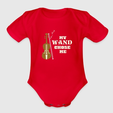 Bass Player My Wand Chose Me Funny T-Shirt for Violin Players - Organic Short Sleeve Baby Bodysuit