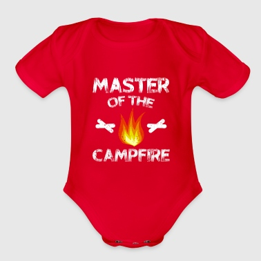 Caravan Master Of The Campfire Camping T-Shirt Gift - Organic Short Sleeve Baby Bodysuit