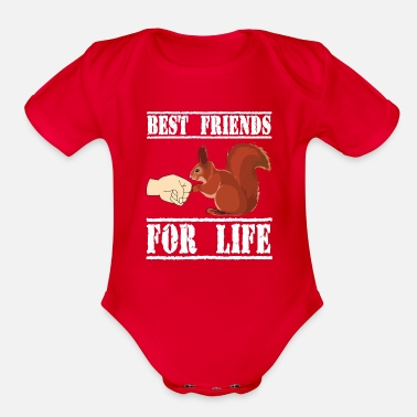 Friend Squirrel Best Friend For Life - Organic Short-Sleeved Baby Bodysuit
