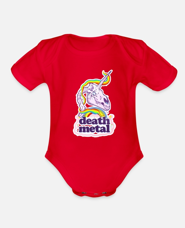Death Metal Baby One Pieces - Death Metal Unicorn - Organic Short-Sleeved Baby Bodysuit red