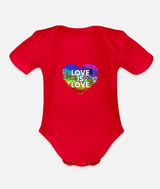 Bisexual Baby One Pieces - Love Is Love Houston - Organic Short-Sleeved Baby Bodysuit red