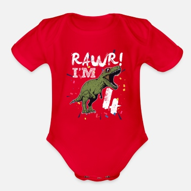 Raw 4th Birthday rawr i'm 4 dinosaur costume Kids - Organic Short Sleeve Baby Bodysuit