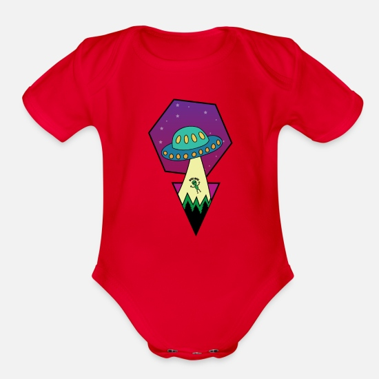 Saturn Baby Clothing - UFO - Organic Short-Sleeved Baby Bodysuit red