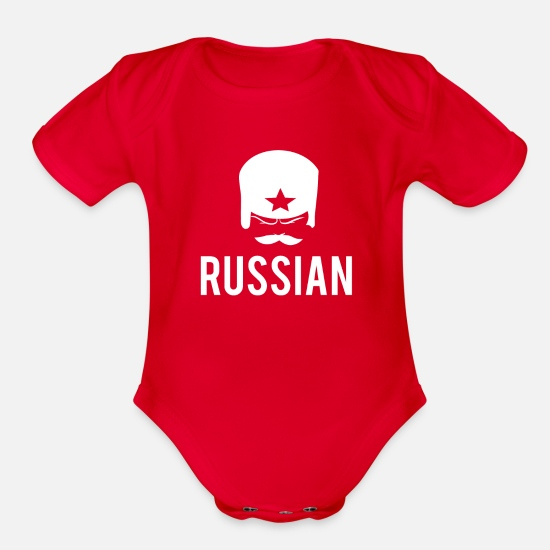 Cccp Baby Clothing - Russian Guy Hat Star CCCP Shirt - Organic Short-Sleeved Baby Bodysuit red