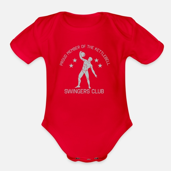 Weights Baby Clothing - Kettlebell Swingers Club T-Shirt - Organic Short-Sleeved Baby Bodysuit red