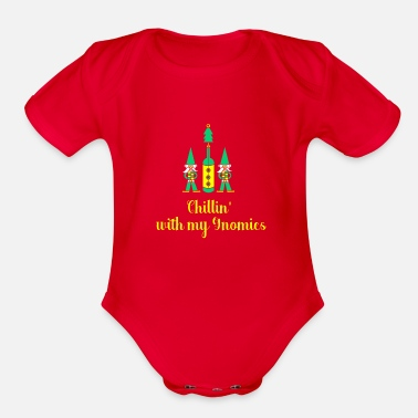 Merry Chillin' With My Gnomies T-Shirt Christmas Holiday - Organic Short Sleeve Baby Bodysuit