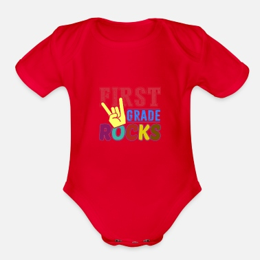 Back To School First Grade Rocks T-Shirt - Organic Short-Sleeved Baby Bodysuit