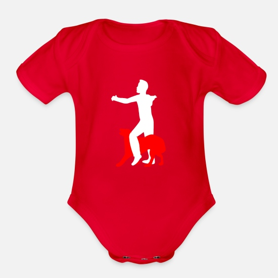 Agility Baby Clothing - Dog Dancing Dog Sport Dancing Dog Gift - Organic Short-Sleeved Baby Bodysuit red