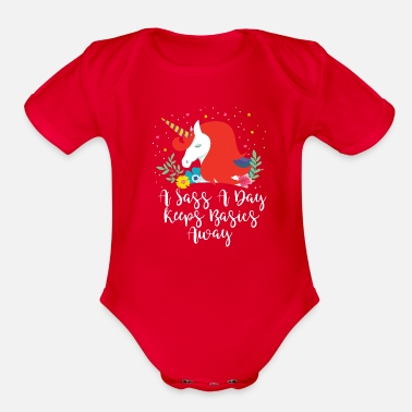 Pooping A Sass A Day Keeps Basics Away - Organic Short-Sleeved Baby Bodysuit