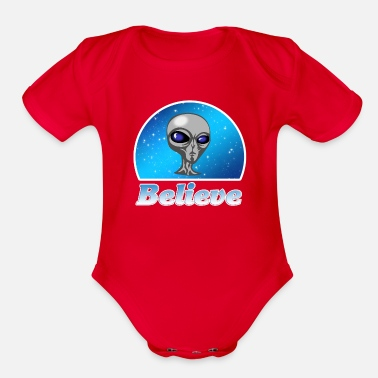 Neptune Believe in Aliens, Outer Space, Gray One, Gift - Organic Short-Sleeved Baby Bodysuit