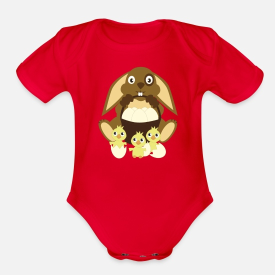Easter Baby Clothing - Easter bunny Easter eggs chick - Organic Short-Sleeved Baby Bodysuit red