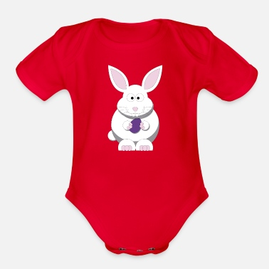 Monday Easter bunny with Easter egg - Organic Short-Sleeved Baby Bodysuit