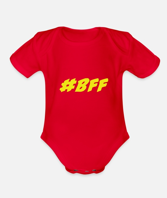 Bff Baby One Pieces - #bff, bff, best friends forever - Organic Short-Sleeved Baby Bodysuit red
