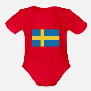Sweden Flag of Sweden, flag Sweden, Sweden flag - Organic Short-Sleeved Baby Bodysuit