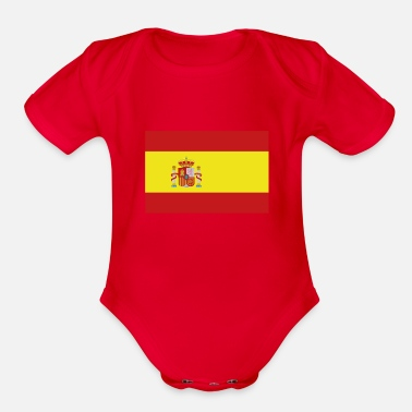 Spain Flag of Spain, Spains flag, flag Spain, Spain flag - Organic Short-Sleeved Baby Bodysuit