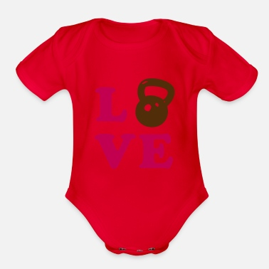 Crossfit Love Kettlebell- weight lifting - Organic Short Sleeve Baby Bodysuit