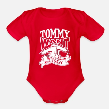 TOMMY WANT WINGY - Organic Short-Sleeved Baby Bodysuit