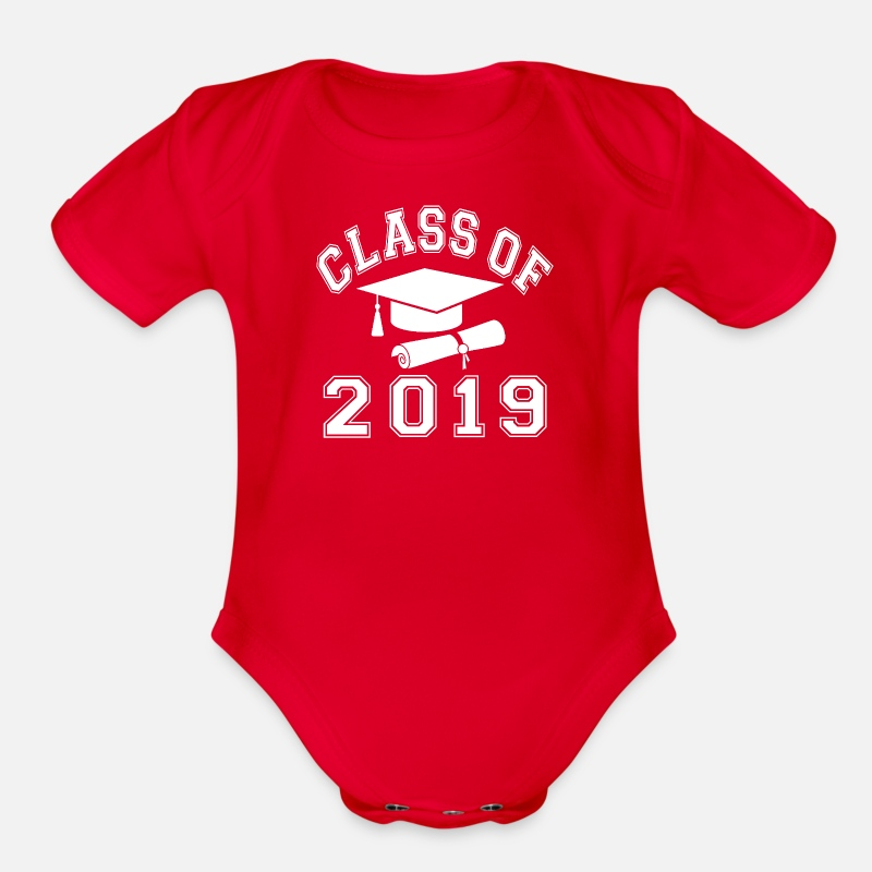 Senior Baby Clothing - Class Of 2019 - Organic Short-Sleeved Baby Bodysuit red