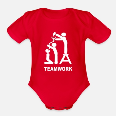 Team Work TEAM WORK - Organic Short-Sleeved Baby Bodysuit