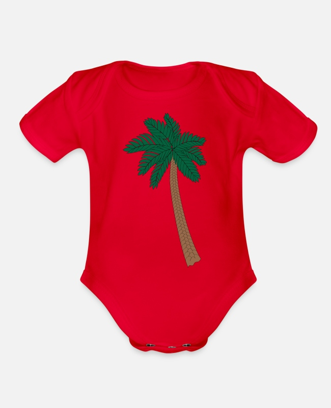 Palm Trees Baby One Pieces - Palm Tree - Organic Short-Sleeved Baby Bodysuit red