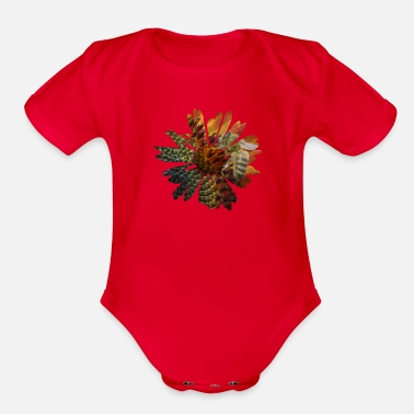 Picture Picture in picture - a daisy flower with a bee - Organic Short Sleeve Baby Bodysuit