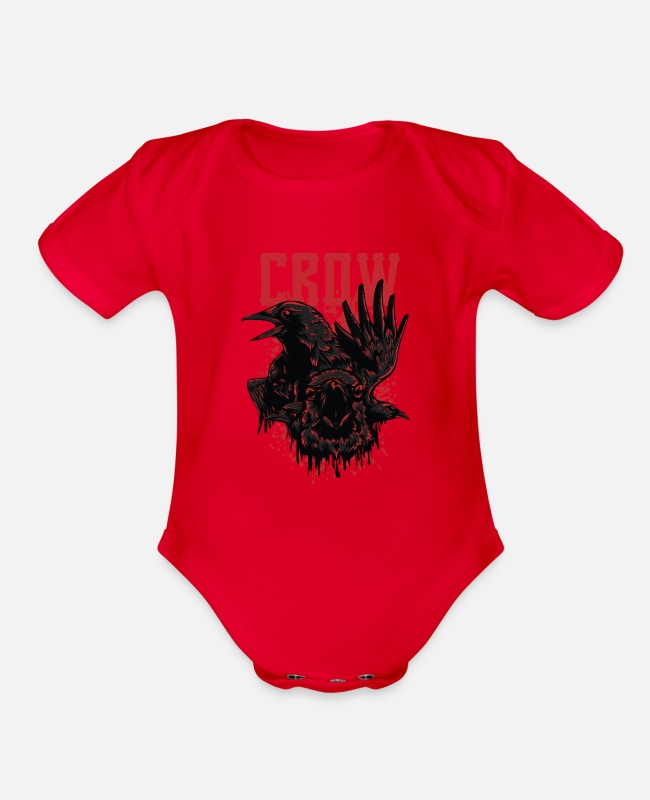 Black Metal Baby One Pieces - Black Crow - Organic Short-Sleeved Baby Bodysuit red