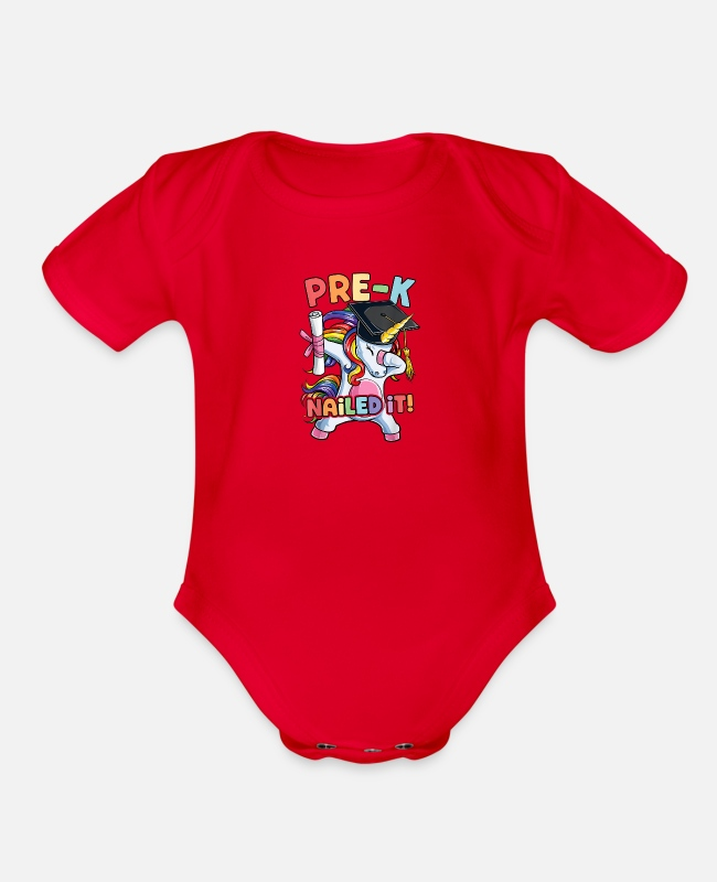 Graduation Baby One Pieces - Dabbing Unicorn Pre K Graduate Graduation 2019 Nai - Organic Short-Sleeved Baby Bodysuit red