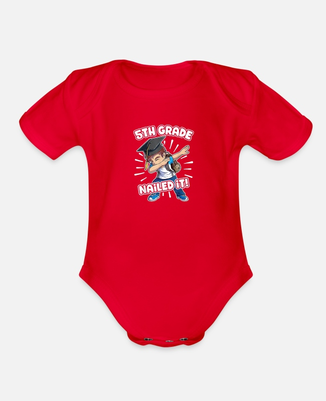 5th Grade Boys Graduation Baby One Pieces - Dabbing Graduation Boy T shirt 5th Grade Boys Clas - Organic Short-Sleeved Baby Bodysuit red