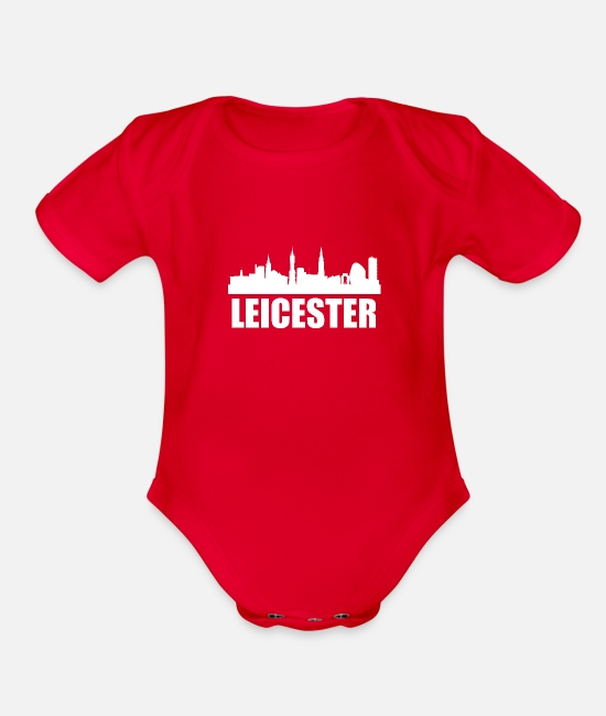 Skyline Baby One Pieces - Leicester Skyline - Organic Short-Sleeved Baby Bodysuit red