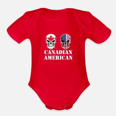 aed3c336cda Canadian American Flag Skulls Toddler Premium T-Shirt