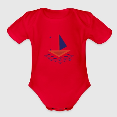 Boat abstract - Organic Short Sleeve Baby Bodysuit
