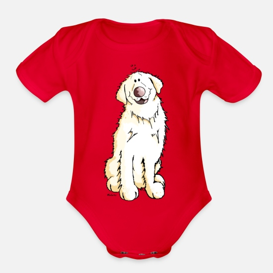 Golden Baby Clothing - Goldi Golden Retriever - Organic Short-Sleeved Baby Bodysuit red